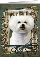 Happy Birthday - Bichon Frise - Stone Paws card