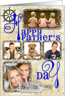 Happy Father's Day Nautical Blue Photo Card