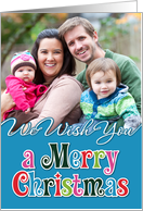 We Wish You a Merry Christmas Blue Photocard card