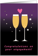 Congratulations on your engagement champagne toast card