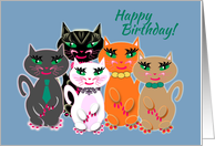 School Principal Happy Birthday Group of Colourful 'Kool' Cats card