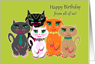 Business Birthday for Co-worker Group of Colourful 'Kool' Cats card