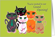 Business Grand Opening Group of Colourful 'Kool' Cats card