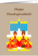 Thanksgivukkah Turkey Family Around Menorah card