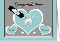 Congratulations Engagement Custom Name Champagne and Hearts card