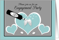 Invitation Engagement Party Champagne Toast and Hearts card