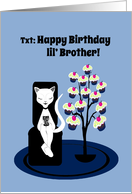 Little Brother Birthday Humor Funny Texting Cat with Cupcake Tree card
