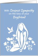 Sympathy for Boyfriend White Silhouetted Girl with Poppies and Dove card