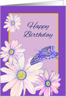 Happy Birthday Across the Miles Stylistic Daisies and Butterfly card