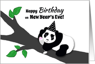 New Year's Eve Birthday Panda Bear in Hat w Champagne Toast card
