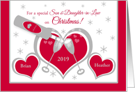 Son Wife Christmas Custom Name Hearts and Toasting Champagne Glasses card