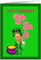 Invitation--Birthday/Happy St. Patrick's Day- Leprechaun W/Pipe, Blowing Shamrocks card