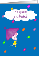 Teen/Tween-Easter-It's Raining Jelly Beans! Cute Little White Mouse w/Purple Umbrella card