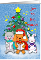 Grandchild Religious Joy to the World Animal Carolers in Snow Scene card