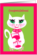 Congratulations First Apt Cheers Kitty Kat with Cocktail card