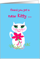 Congratulations New Cat, Kitty with Big Pink Flower card