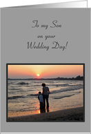 Son Congratulations Wedding Mother and Son on Beach card