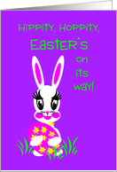 Tween Easter White Bunny w/ Colored Easter Egg card