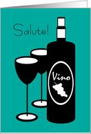 New Year's Italian Salute Wine Bottle and Glasses card