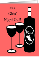 Invitation to Girls Night Out Wine Bottle and Glasses card