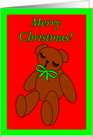 Grandchildren Merry Christmas Brown Stuffed Teddy Bear card