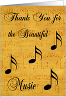 Thank You, Volunteer, Church Musician, sheet music with musical notes card