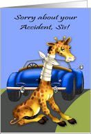 Get Well, car accident to sister, giraffe with neck bandaged, blue car card