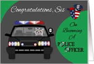 Congratulations to Sister, Graduation, Police Academy, raccoon in car card