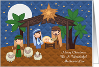 Christmas To Mother-in-Law, Nativity Scene With Baby Jesus, stars card
