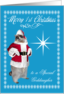 1st Christmas to Goddaughter, raccoon Santa Claus, snowflakes, blue card