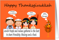 Thanksgivukkah, general, humor, Jewish Boy And Girl, Indians, turkey card