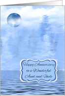 Wedding Anniversay to Aunt and Uncle, Blue Moon Theme, water scene card