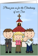 Invitations, Christening of Son, church with people against blue sky card