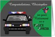 Congratulations, custom name, Retirement, Police Officer, raccoon card