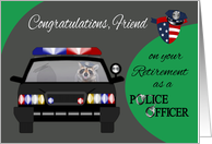 Congratulations To Friend, Retirement, Police Officer Raccoon in car card