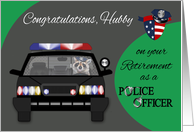 Congratulations To Husband, Retirement, Police Officer Raccoon, car card
