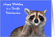 Birthday To Veterinarian, Raccoon smiling with pearly white dentures card