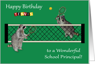 Birthday To School Principal, Raccoons playing tennis, tennis rackets card