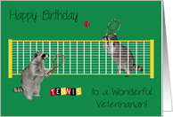Birthday To Veterinarian, Raccoons playing tennis with tennis rackets card