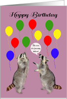 Birthday, general, raccoons taking cover, colorful balloons on purple card
