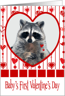 Valentine's Day For Baby's First, raccoon in red heart holding hearts card