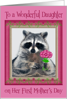 Daughter's First Mother's Day, Raccoon with bouquet of flowers, pink card