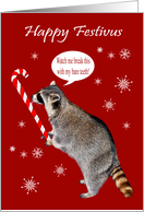Festivus, general, raccoon doing feats of strenght with a candy cane card