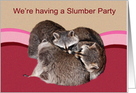 Invitations, Slumber Party, adorable accoons wrestling on a bed card