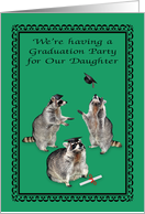 Invitations, Graduation Party for Daughter, adorable raccoons, caps card