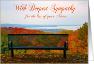 Sympathy for loss of Niece, Empty bench with fall foliage, water card