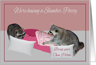 Invitations, Slumber Party, adorable raccoons having a pillow fight card
