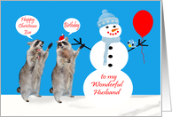 Birthday On Christmas Eve To Husband, Raccoons with snowman, blue card