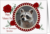 Valentine's Day To Grandpa, Raccoon in a heart frame with roses card