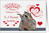 Valentine's Day To Grandfather, Raccoon with hearts card